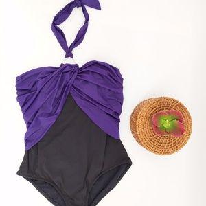 Anne Cole one piece swimsuit haulter neckline
